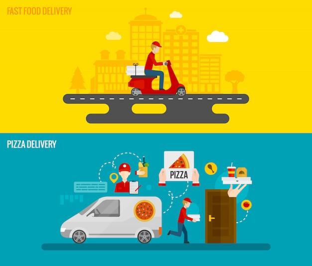 Fast food und pizza lieferung banner Kostenlosen Vektoren