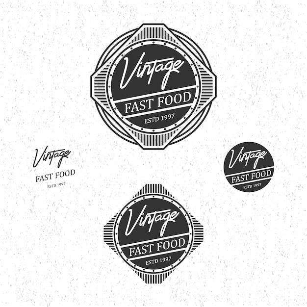 Fast food-vintage-logo Premium Vektoren