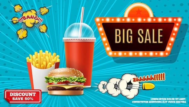 Fast-food-werbekonzept mit realistischen pommes frites soda burger großen verkauf neon banner comic-sprechblase kugel explosive und halbton-effekte illustration Kostenlosen Vektoren