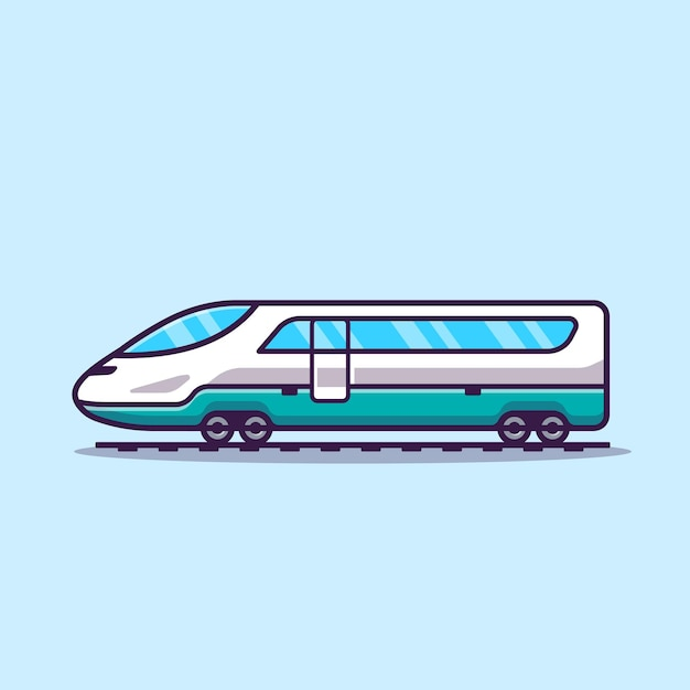 Fast train cartoon vector icon illustration. icon-konzept des öffentlichen verkehrs lokalisierter vektor. flacher cartoon-stil Premium Vektoren