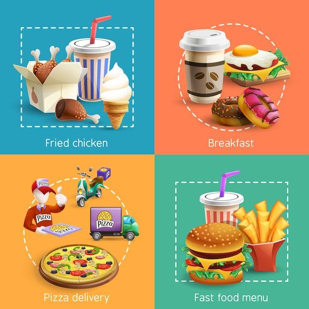 Fastfood 4 cartoon icons square zusammensetzung Kostenlosen Vektoren
