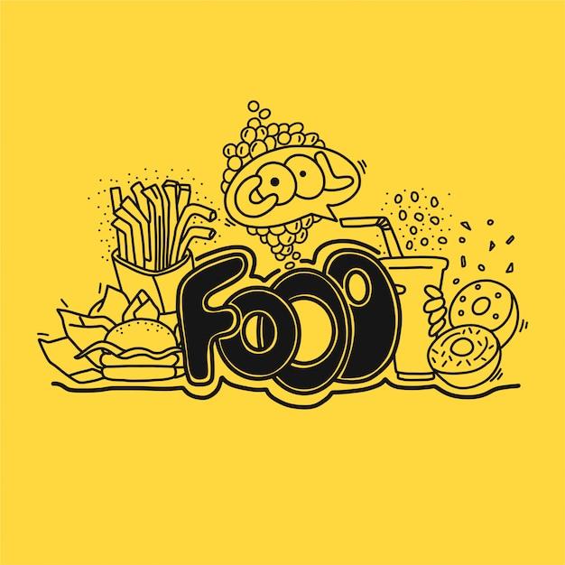 Fastfood hand gezeichnete illustration Premium Vektoren