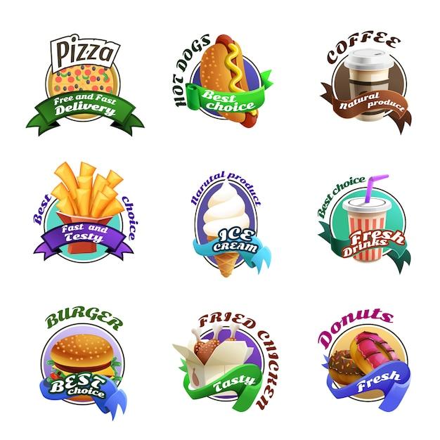 Fastfood-karikatur-bunte embleme eingestellt Kostenlosen Vektoren