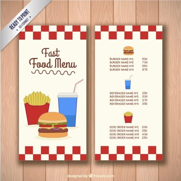 Fastfood-Menü-Schablone | Download der kostenlosen Vektor
