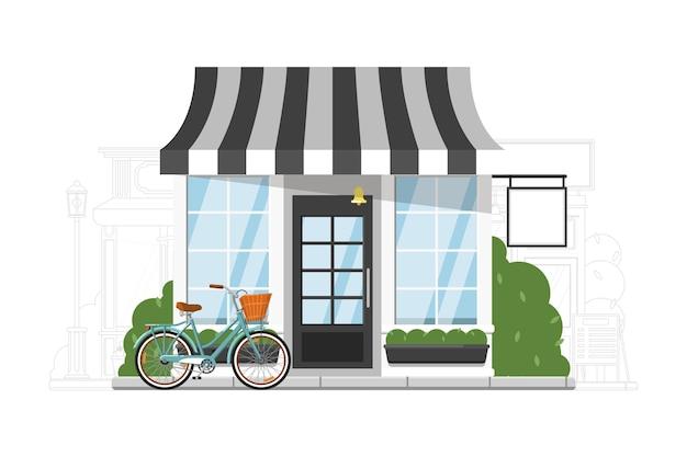 Fastfood-restaurant. kleine fastfood-restaurant, einzelhandelsgeschäft oder boutique-shop gebäude außenfassade auf stadtbild silhouette hintergrund. gewerbeimmobilienillustration Premium Vektoren
