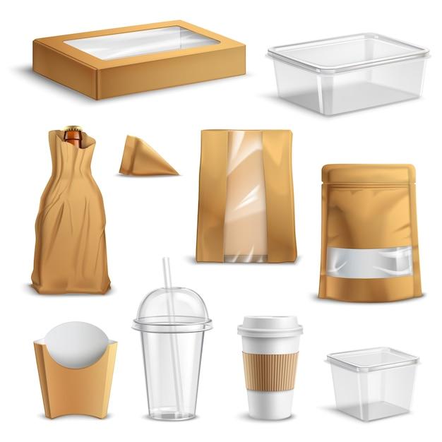 Fastfood takeaway verpackung realistische set Kostenlosen Vektoren