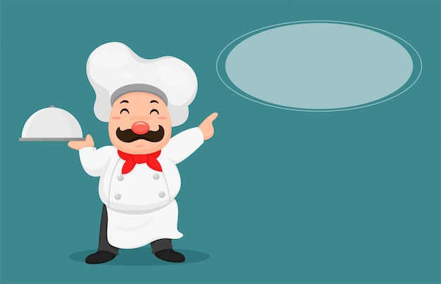 Fat chefs empfehlen kundenmenüs. Premium Vektoren