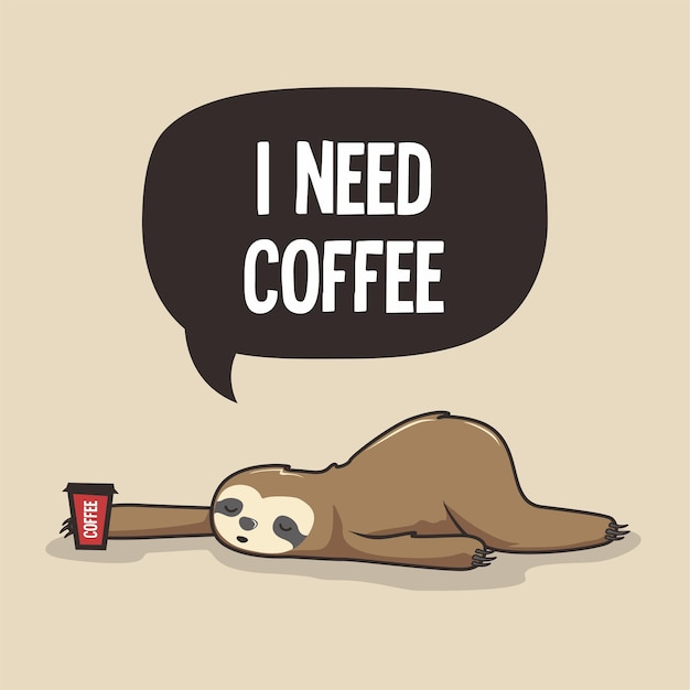 Faule faultier brauchen kaffee cartoon Premium Vektoren