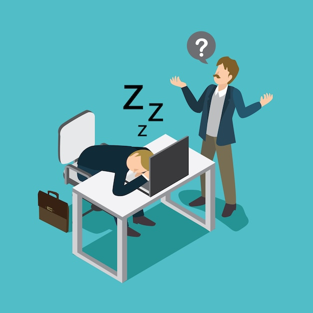Fauler geschäftsmann schlafen Premium Vektoren