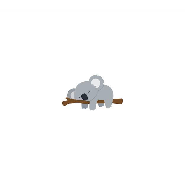 Fauler koala, der auf einem flachen design der niederlassung schläft Premium Vektoren