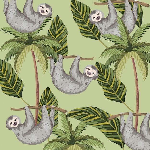Faultier mit tropischem palmen- und blatthintergrund Premium Vektoren