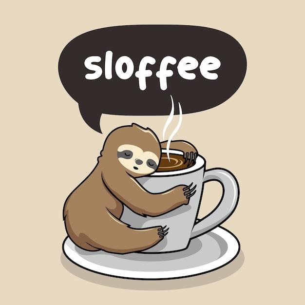 Faultierschlaf bei einer tasse kaffee Premium Vektoren