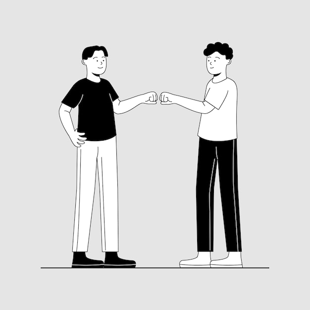 Fauststoß-geste zwei-freund-karikatur Premium Vektoren