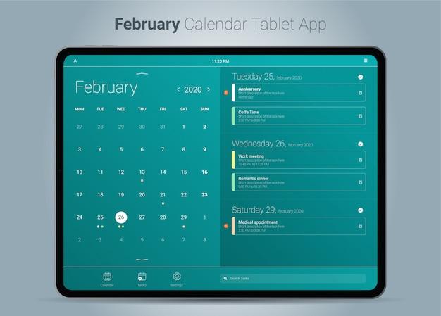 Februar kalender tablet app-oberfläche Premium Vektoren