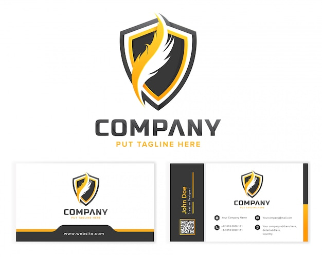Feder-logo-vorlage für unternehmen mit visitenkarte Premium Vektoren