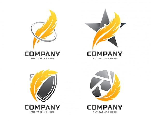 Feder-logo-vorlage für unternehmen Premium Vektoren