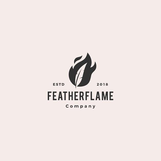 Feder stift feuer flamme logo hipster Premium Vektoren