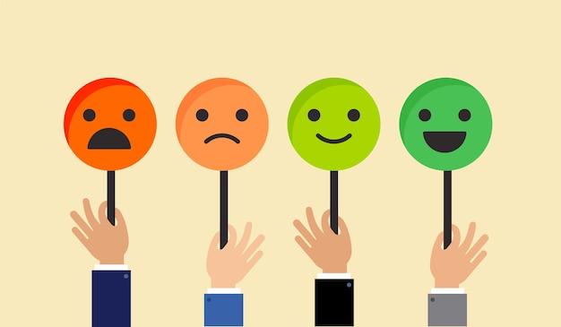 Feedback-konzeptdesign, emoticon, emoji und lächeln, emotionsskala Premium Vektoren