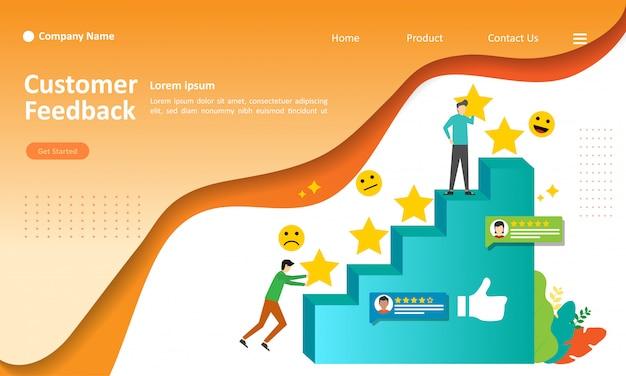 Feedback-review-konzept design-vektor-illustration Premium Vektoren