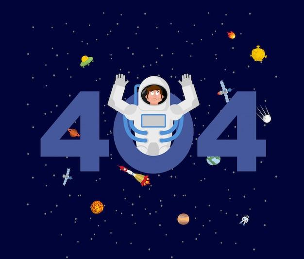 Fehler 404. astronautenüberraschung. Premium Vektoren