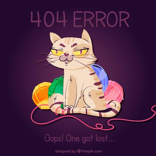 Fehler 404 hintergrund mit katzen- und wollbündeln Kostenlosen Vektoren