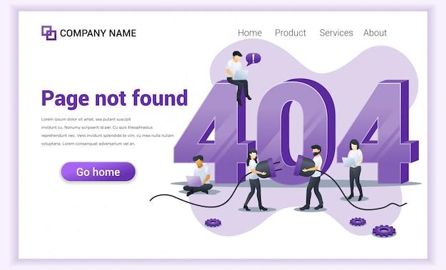 Fehler 404-konzept. leute, die versuchen, fehler auf website-seite nahe großem symbol 404 zu beheben Premium Vektoren
