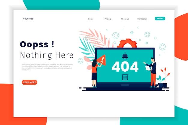 Fehler 404-konzept-zielseite mit laptop Premium Vektoren