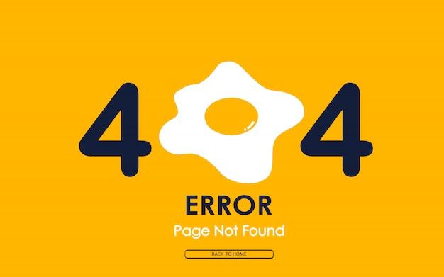 Fehler 404 mit spiegelei auf gelbem hintergrund Premium Vektoren