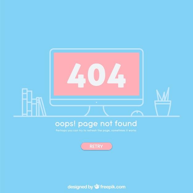 Fehler-netzschablone 404 mit computer in der flachen art Kostenlosen Vektoren