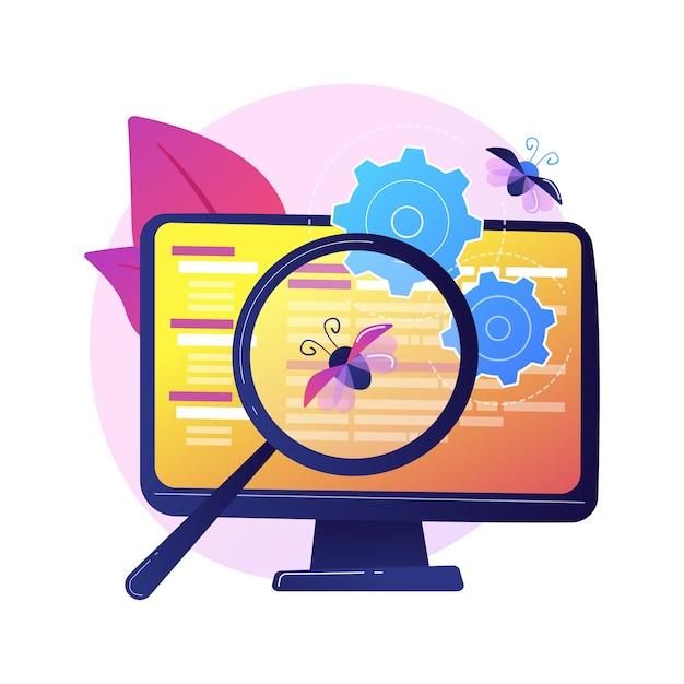 Fehlerbehebung und softwaretests. tool zur suche nach computerviren. devops, weboptimierung, antiviren-app. designelement für lupe, zahnrad und monitor. Kostenlosen Vektoren