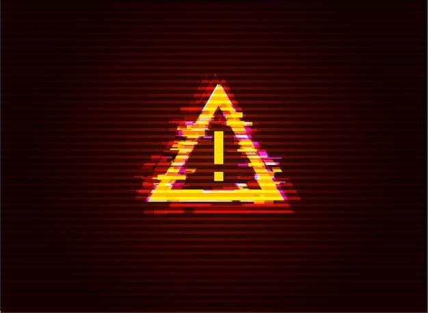 Fehlerhafte aufmerksamkeit / gefahrensymbol. computer gehacktes fehlerkonzept. illustration. Premium Vektoren
