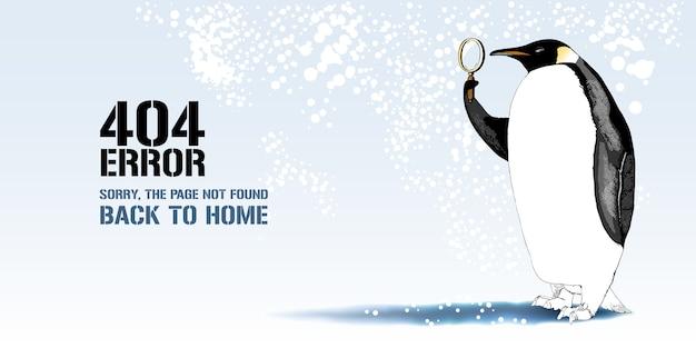 Fehlerseitenabbildung, banner mit nicht gefundener meldung. cartoon-pinguin mit linsenhintergrund für fehlerkonzept-webseitenelement Premium Vektoren