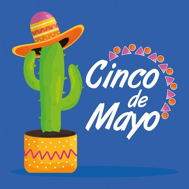 Feier cinco des mayo mit kaktus- und hutmexikaner Premium Vektoren