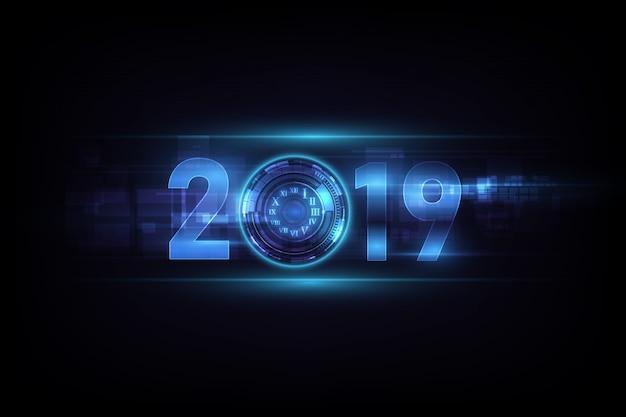 Feier des guten rutsch ins neue jahr 2019 mit zusammenfassungsuhr des weißen lichtes auf futuristischem technologiehintergrund. Premium Vektoren