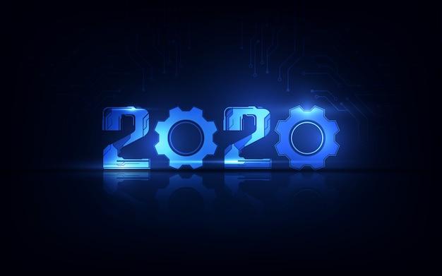 Feier des guten rutsch ins neue jahr 2020 mit futuristischem technologiehintergrund, count-down-konzept Premium Vektoren