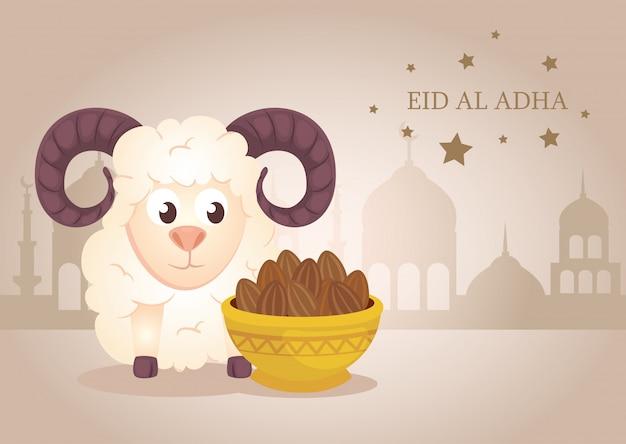 Feier des muslimischen gemeinschaftsfestivals eid al adha, karte mit opferschaf und teller Premium Vektoren