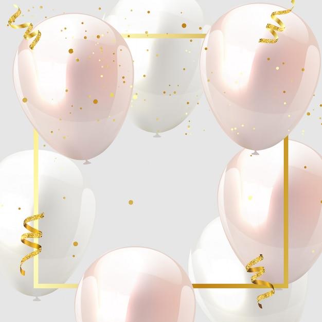 Feier design ballon rosa und weiß, konfetti und gold bändern. Premium Vektoren