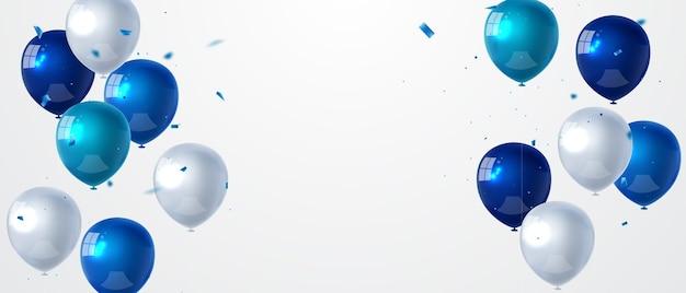Feier-party-banner mit blauem farbballonhintergrund Premium Vektoren