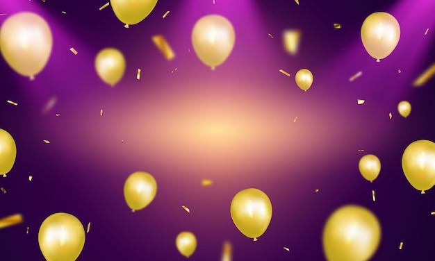 Feier-party-banner mit goldballonhintergrund. verkaufsillustration. grand opening card luxusgruß reich. Premium Vektoren