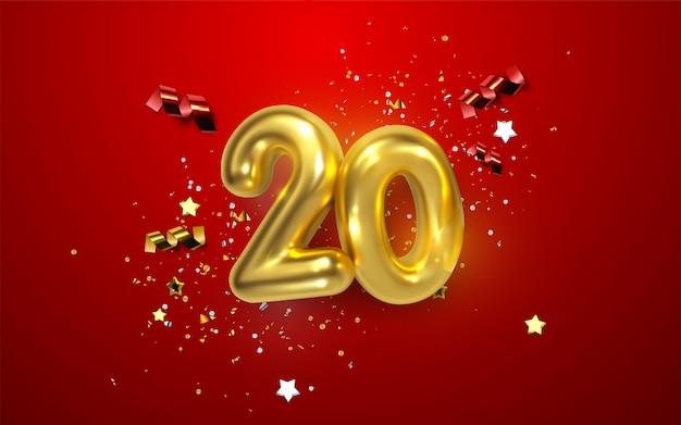 Feier zum 20. jahrestag. goldene zahlen mit funkelnden konfetti, sternen, glitzern und luftschlangen. festliche illustration Premium Vektoren