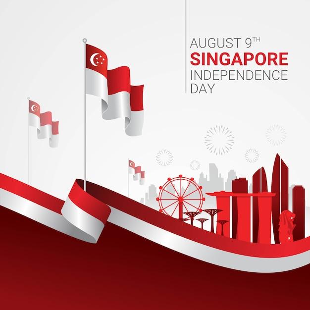 Feier zum unabhängigkeitstag von singapur Premium Vektoren