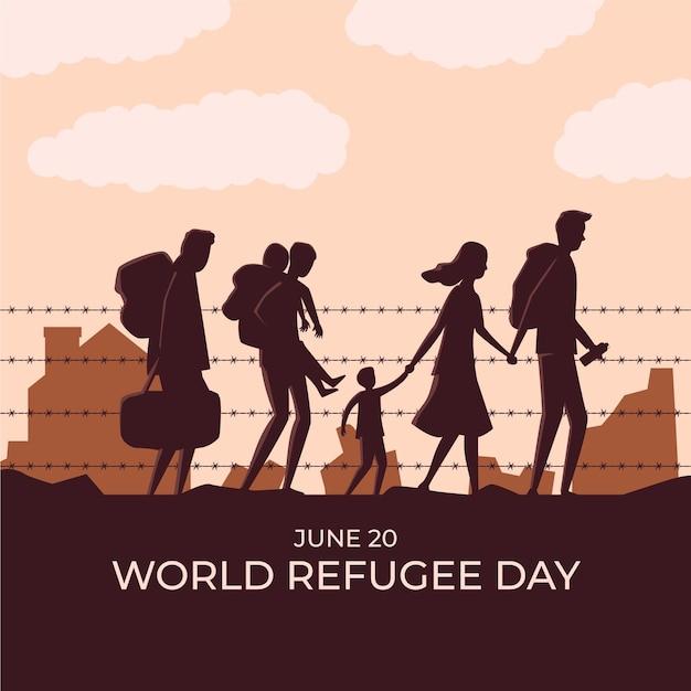 Feier zum weltflüchtlingstag Kostenlosen Vektoren