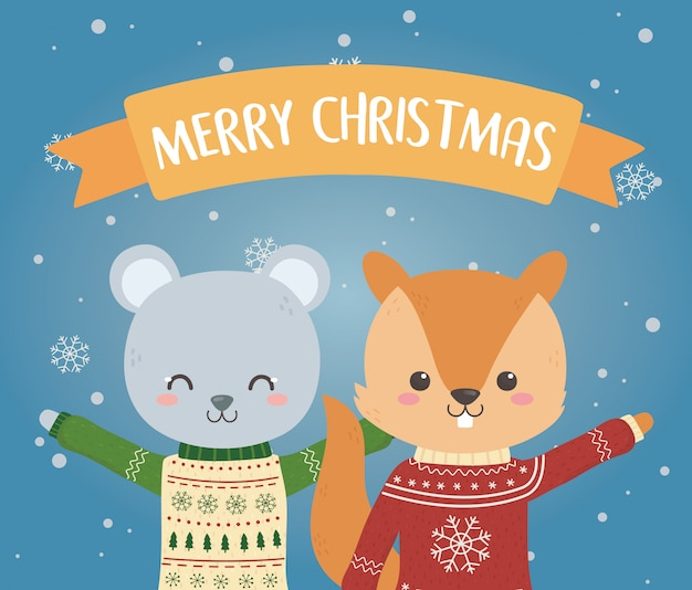Feierbär und -eichhörnchen der frohen weihnachten mit hässlicher strickjacke Premium Vektoren