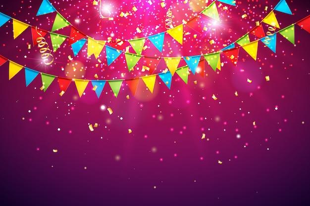 Feierhintergrund mit bunter party-markierungsfahne und fallendem confetti Premium Vektoren