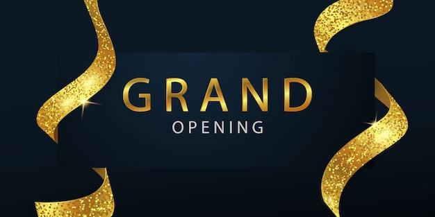 Feierliche eröffnung mit goldenem band hintergrund und glitzer Premium Vektoren