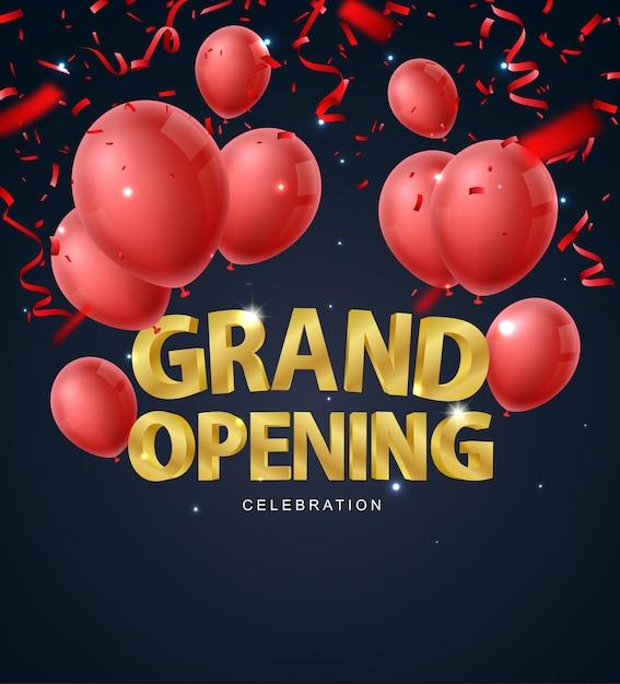 Feierliche eröffnung mit rotem ballongold und konfetti Premium Vektoren