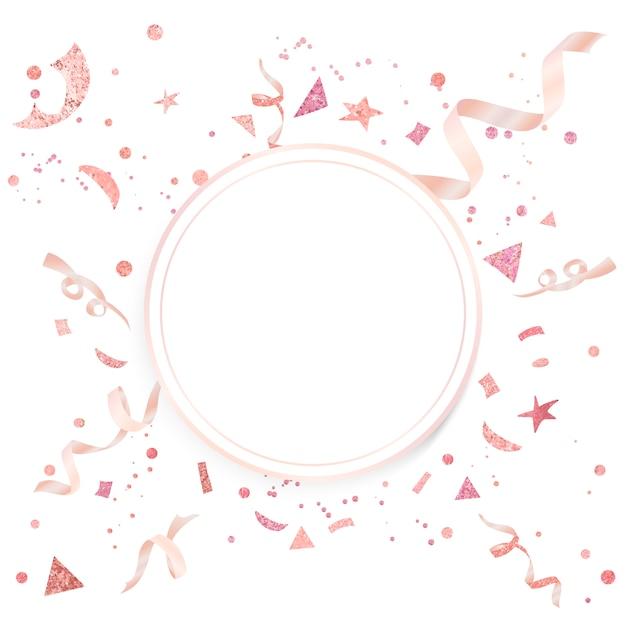 Feierliches design von hellrosa konfetti Kostenlosen Vektoren