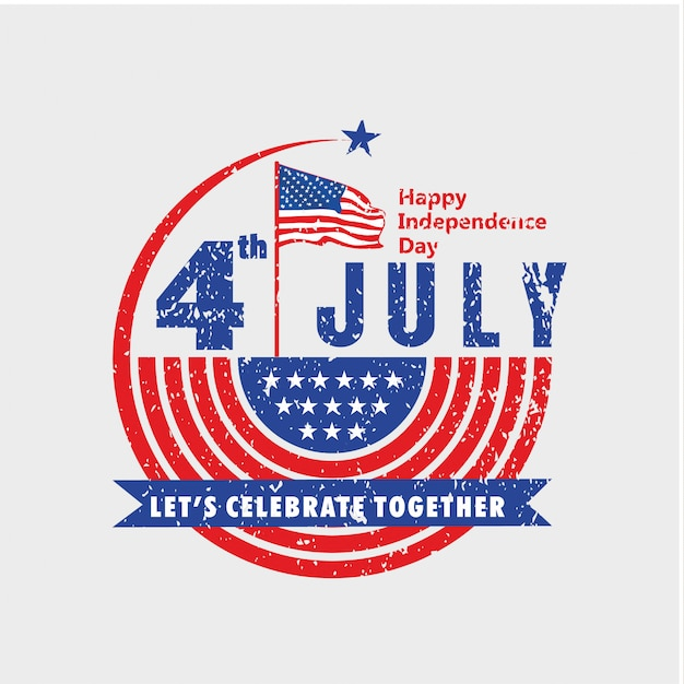 Feiern sie den unabhängigkeitstag der usa am 4. juli im vintage-look Premium Vektoren