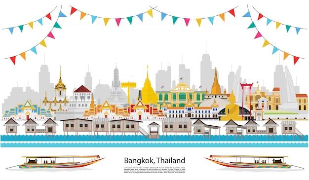 Feiern sie in bangkok und in ganz thailand Premium Vektoren