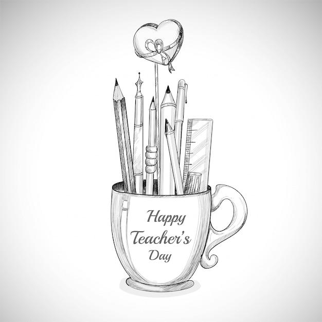 Feiern wir die tasse mit dem glücklichen lehrertag und der bleistiftskizze Kostenlosen Vektoren